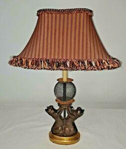 Rare Tyndale lamp Frederick Cooper Vintage original shade Bronze Cat Ball Lamp