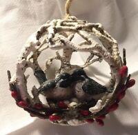 Kurt Adler Lovebirds With Nest In Birch Ball Christmas Tree Ornament New
