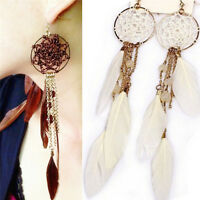 Bohemia Feather Beads Long Design Dream Catcher Earrings for Women jewelry LY