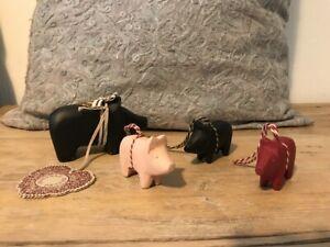 MAILEG Schwein Glücksschwein klein Holz Advent Weihnachten (3er Set)