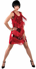 Charleston Kleid rot Damen 20er Jahre Mafia Flapper Kostüm Karneval Fasching