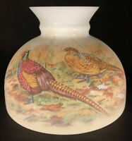"New 10"" Opal Glass Student Lamp Shade With Pheasants Scene Made In USA #PS033"