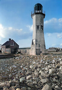 """1938 Scituate Lighthouse, Scituate, MA Old Photo 13"""" x 19"""" Reprint Colorized"""