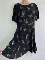NWOT NEXT brown ditsy floral print tea dress fits size 12