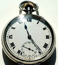 Outstanding antique WW1 1914 solid silver Omega pocket watch....VGWO.
