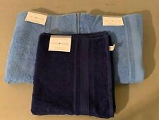 "BR LOT OF 3 NWT Tommy Hilfiger Bath Towels 30"" x 54"" Lt/ Navy Blue Soft Nice!"