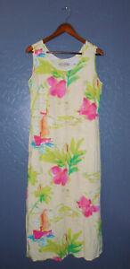 Vtg JAMS WORLD Hawaiian Dress LAGOON Drop Waist Tiered RAYON Floral Aloha MD