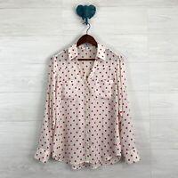Express Medium Cream Pink Polka Dot Button Down Roll Tab Portofino Blouse Top
