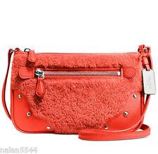 NWT COACH SHEARLING SMALL RHYDER POUCHETTE LEATHER CROSSBODY BAG 36490 Orange