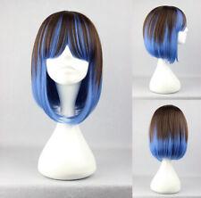 Ladieshair Cosplay Perücke Braun und Blau glatt 40cm lang