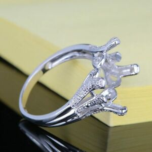 9x11mm Cushion Cut 10k White Gold Pave Diamond Engagement Semi Mount Fine Ring