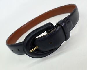 Coach Leather Belt Small 26 Burnished Cowhide 3901 Navy Blue Made in USA Vtg