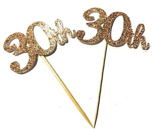 12 x Rose Gold Happy 30th Birthday cup cake topper, cupcake picks