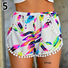 Women's Hot Pants Summer Beach Pom Pom Edge Multi-Color Print Shorts Stylish