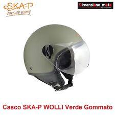Casco JET Con Visiera Sagomata SKA-P WOLLI Colore Verde Gommato Taglia M 57 cm