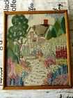 VINTAGE HAND EMBROIDERED PICTURE/FRAMED - BEAUTIFUL GARDENS/ EXQUISITE WORK