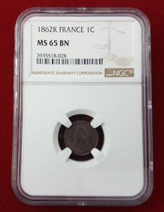 Napoleon III 1 Penny 1862 K Bordeaux F.103/7 NGC Ms 65 Bn