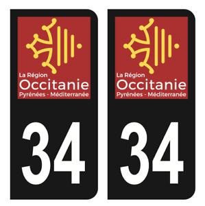 Autocollant Stickers plaque immatriculation Noir auto département 34 Hérault CLR