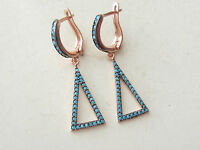 UNIQUE TURKISH TURQUOISE ROSE GOLD 925K STERLING SILVER TRIANGLE EARRINGS