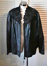 NWT Marina Rinaldi Black Leather Ornate Design Collar Zipper Jacket 18 US 27 IT