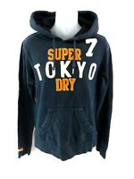 SUPERDRY Womens Hoodie Jumper M Medium Navy Blue Cotton & Polyester