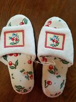Mary Engelbreit Slippers White Red Cherries Flower Size 8-9 New