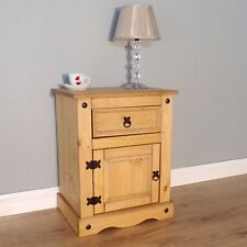 Corona Large Bedside 1 Door Pot Cupboard Mexican Solid Pine by Mercers Furniture
