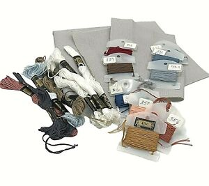 Counted Cross Stitch DMC Embroidery Floss 18 Colors Aida 14 Fabric Gray Destash