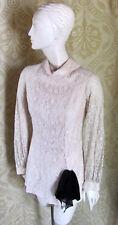 TONI TODD Unique Vintage Creme Lace Blouse Black Detail SzXS 1960s/70s