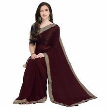 Brown Saree Party Wear Indian Ethnic Wedding Designer Sari with Border