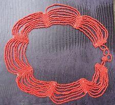 Antiguos o vintage victoriano nativo multi-hilo Collar De Coral Rojo.