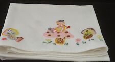 MUSHROOMS - VINTAGE BABY SHEET BED COVER HAND EMBROIDERED WAFFLE CLOTH UU132
