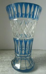 "Antique Bohemian Large Cut Glass Vase Blue & Clear 11 1/2"" Tall"