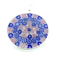 Cristal de Murano Colgante Rosa Blanco Azul Plata de Ley Circular 32mm Diámetro