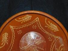 """ANTIQUE LARGE REDWARE RED WARE DECORATED BOWL 13"""" D"""