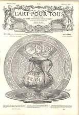 1862 CLUNY Musée Vase plaque Papal Bras FAIENCE DE PESARO Artwork