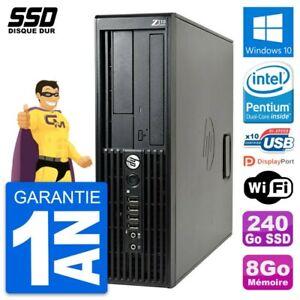 PC HP WorkStation Z210 SFF Intel Pentium G630 RAM 8Go SSD 240Go Windows 10 Wifi
