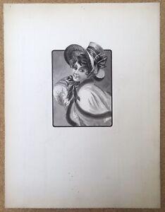 Drawing Original Portrait Woman Beautiful Time Fashion Hat Sleeve Ribbon To 1900