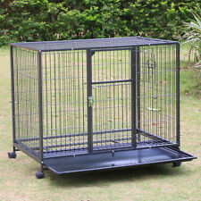 """43"""" Heavy Duty Dog Cage Crate Kennel Metal Pet Playpen Portable w/Tray and Wheel"""