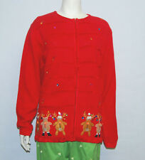 Quacker Factory Reindeer Front Cute Ugly Cardigan Christmas Sweater Size 2x NWT