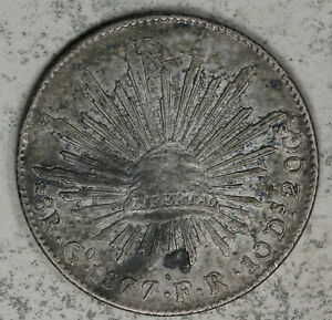 1877 Mexico 8 Reales Silver Coin - Guanajunto Mint