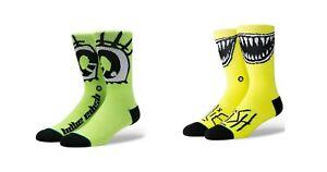 STANCE x Billie Eilish All Gender Socks -Grin/Anime Eyes - LARGE (9-12) - NEW!