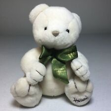 Harrods Cream Teddy Bear Green Bow Plush Soft Toy Stuffed 6""