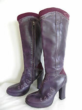 Diesel Style Lab Fashion Knee High Boots Size 36(6) Purple/Burgundy Tone Leather