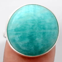 Natural Paraiba Amazonite 925 Sterling Silver Ring s.8 Jewelry 1337