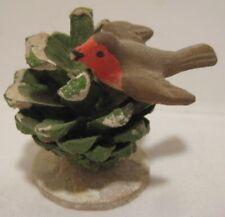 Old German Composition Putz Nodder Trembler Bird on Pinecone Christmas Village