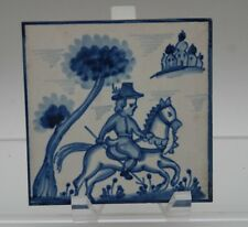 VINTAGE Viuva Lamego Portugal Hand-Painted Boy on Horse_Blue_White Ceramic Tile