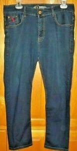 "EUC Billionaire Italian Couture Jeans BLUE Red Embroidery 100% Cotton 32"" x 26"""