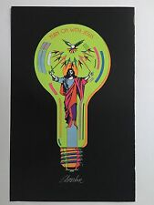 Blacklight Poster Pin-up Print Turn On With Jesus & Dear Love Double Sided