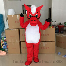 2018 Red Horse Costume Animals Parade Mascot Suit Party Cosplay Dress Outfits